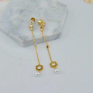 Michael Kors Zircon Pearl Flower Earrings